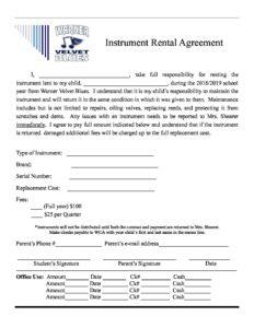 Instrument Rental Agreement 1819 Warner Christian Academy